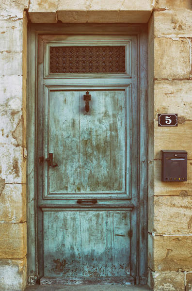 Photograph - Weathered Teal Door In Issigeac France by Georgia Fowler
