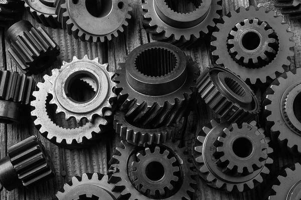 Deterioration Photograph - Weathered Worn Gears by Garry Gay