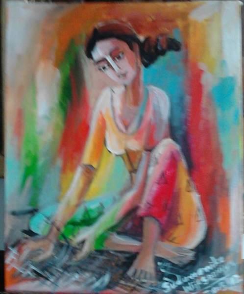 Wall Art - Painting - Weawing A Mat by Sudumenike Wijesooriya