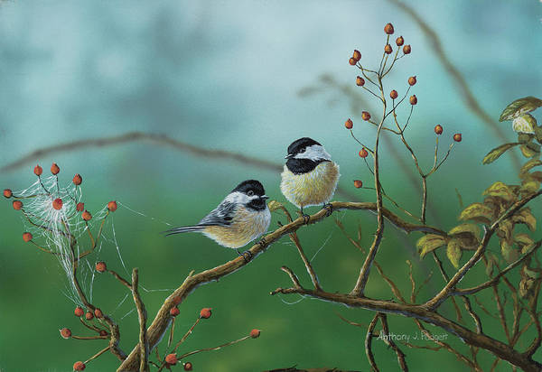 Painting - Web Chickadees by Anthony J Padgett