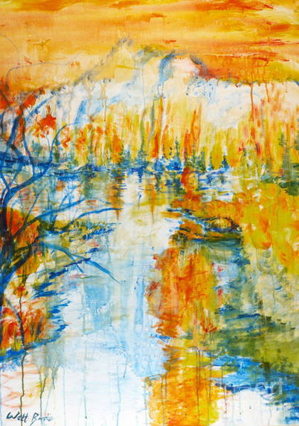 Painting - Weber River At Sunset by Walt Brodis