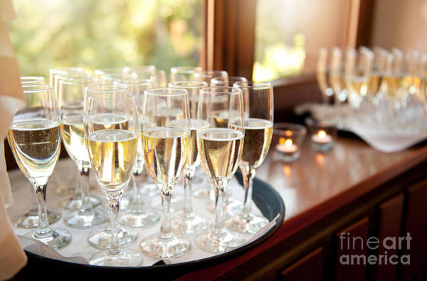 Wedding Reception Photograph - Wedding Banquet Champagne Glasses by Arletta Cwalina