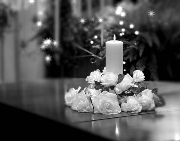 White Rose Photograph - Wedding Candle by Tom Mc Nemar