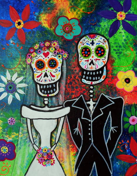 Wall Art - Painting - Wedding Couple Day Of The Dead by Pristine Cartera Turkus