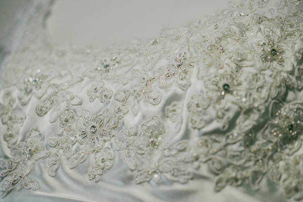Photograph - Wedding Dress Floral Beadwork by Amber Flowers