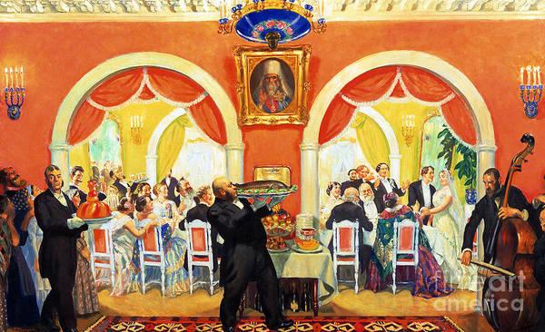 Cellist Painting - Wedding Feast, 1917 by Boris Mikhailovich Kustodiev