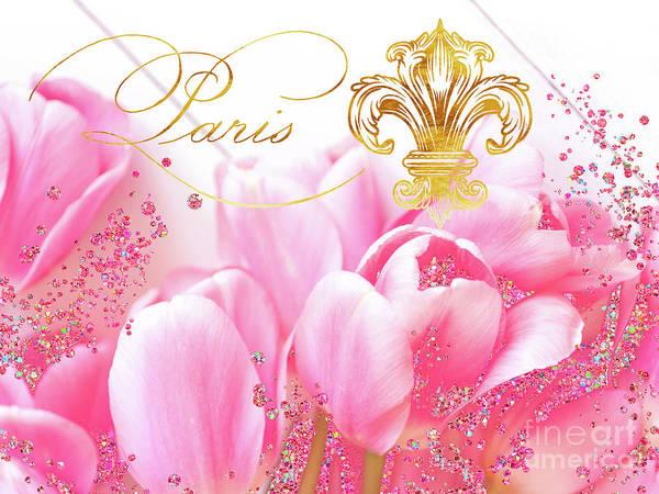 Wall Art - Digital Art - Wedding In Paris II Pink Tulips, Golden Elements by Tina Lavoie