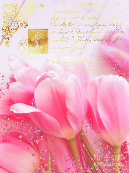 Wall Art - Painting - Wedding In Paris Pink Tulips, Golden Elements by Tina Lavoie
