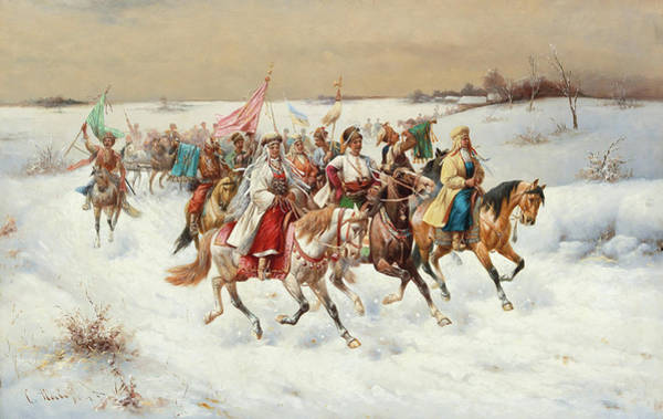 Country Wedding Painting - Wedding Procession In A Winter Landscape by Constantine Stoiloff