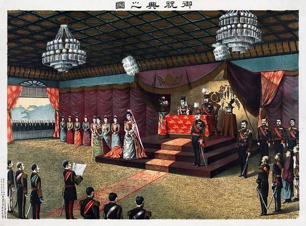 Crown Imperial Painting - Wedding Reception Of Crown Prince Yoshihito And Princess Kujo Sadako, 1900 by Vintage Printery