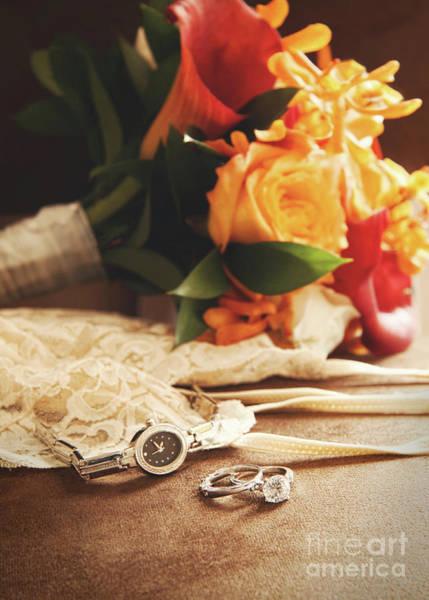 Wedding Ring With Bouquet On Velvet  Art Print