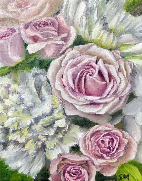 Pink Champagne Painting - Wedding Roses by Steph Moraca