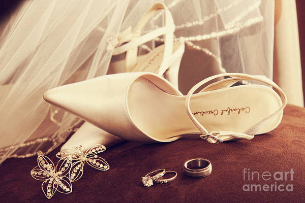 Wall Art - Photograph - Wedding Shoes With Veil And Rings On Velvet Chair by Sandra Cunningham