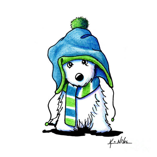 Wall Art - Drawing - Wee Winter Westie by Kim Niles