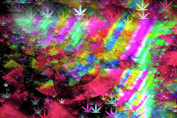 Pink And White Digital Art - Weed Art - Colorful Pattern With Marijuana Symbols by Matthias Hauser