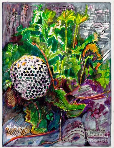 Wall Art - Painting - Weeds In The News by Susan Brown    Slizys art signature name