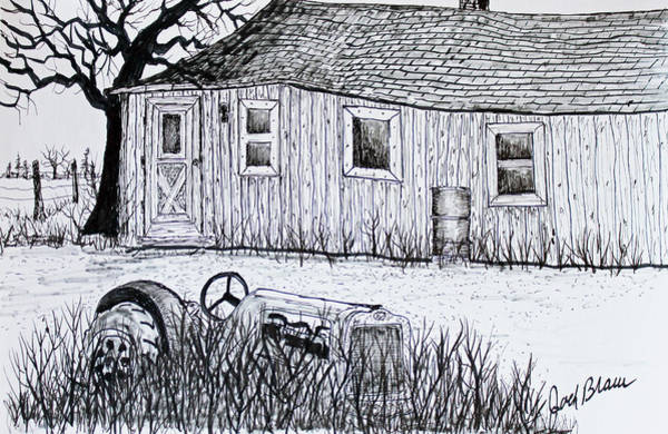 Old Tractor Drawing - Weekend Camp by Jack G  Brauer