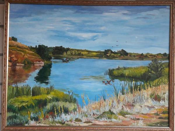 Wall Art - Painting - Weekend On The River by Kateryna Kostiuk-Shostka