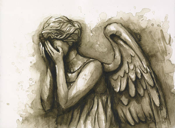 Sepia Painting - Weeping Angel by Olga Shvartsur