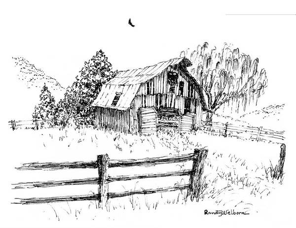 Drawing - Weeping Willow And Barn One by Randy Welborn