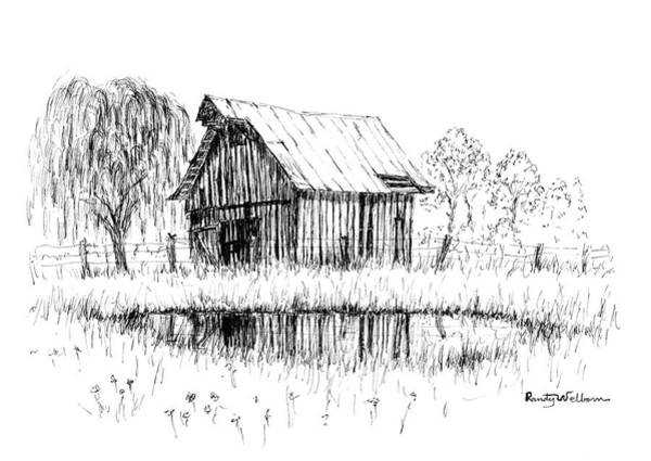 Barn Drawing - Weeping Willow And Barn Two by Randy Welborn
