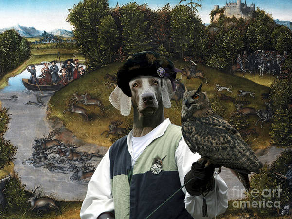Weimaraner Painting - Weimaraner Art Canvas Print - The Stag Hunt Of The Elector Frederic The Wise by Sandra Sij