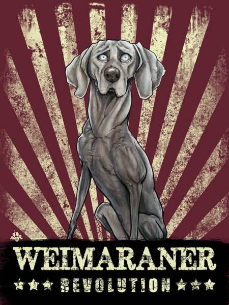Propaganda Drawing - Weimaraner Revolution by John LaFree