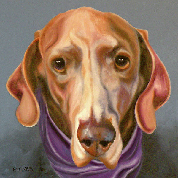 Wall Art - Painting - Weimaraner With Kerchief by Susan A Becker