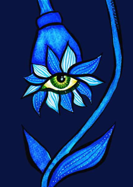Floral Watercolor Drawing - Weird Blue Staring Creepy Eye Flower by Boriana Giormova