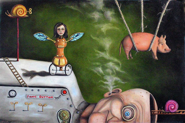 Painting - Weird Science-the Robot Factory by Leah Saulnier The Painting Maniac