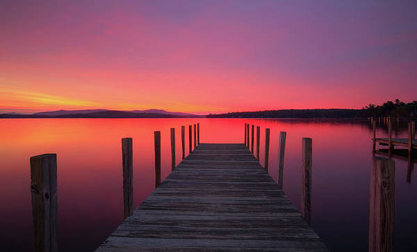 Photograph - Weirs Beach Dock At Sunrise by Robert Clifford