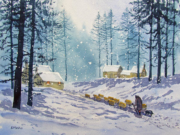 Painting - Welcome End To A Winter's Day by Glenn Marshall