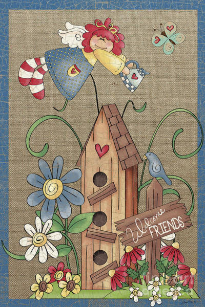 Birdhouse Painting - Welcome Friends-jp3910 by Jean Plout