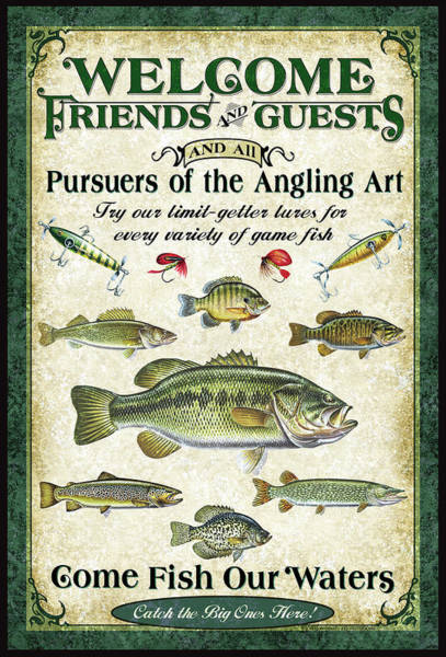 Fishing Tackle Wall Art - Painting - Welcome Friends Sign by JQ Licensing