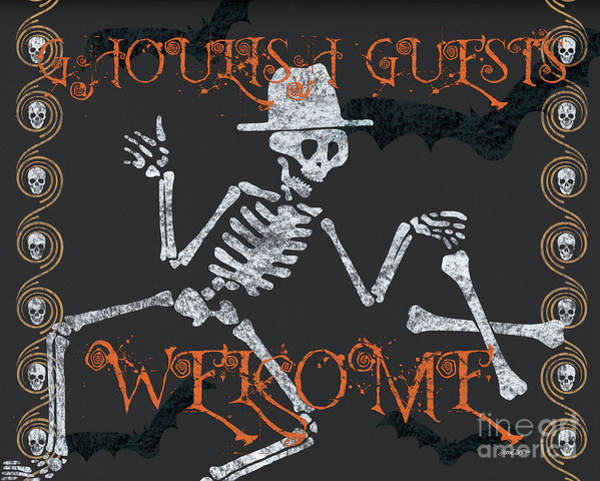 Haunted Wall Art - Painting - Welcome Ghoulish Guests by Debbie DeWitt