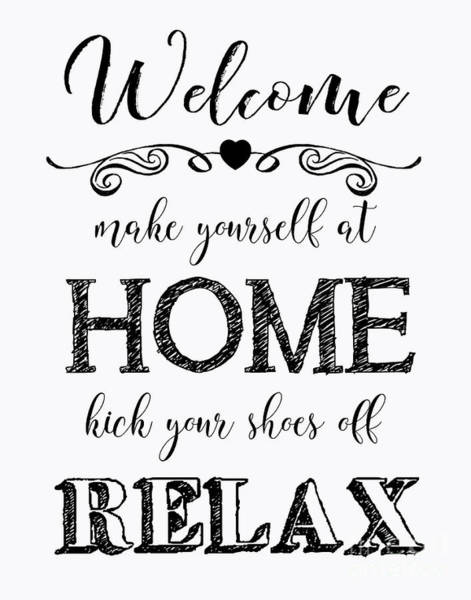 Welcome Sign Digital Art - Welcome Home-b by Jean Plout