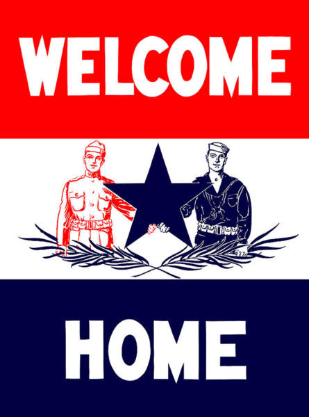 Welcome Wall Art - Mixed Media - Vintage Welcome Home Military Sign by War Is Hell Store