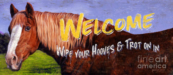 Painting - Welcome Horse Sign by JQ Licensing