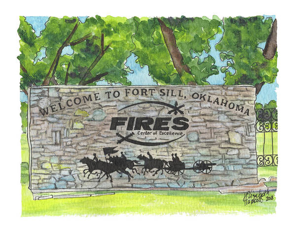 Painting - Welcome Sign Fort Sill by Betsy Hackett