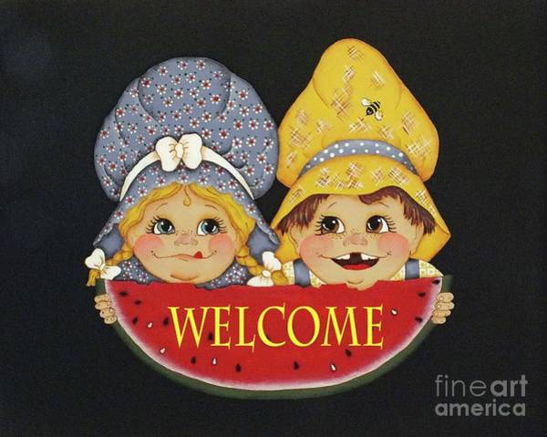 Watermellon Wall Art - Photograph - Welcome Sign - Watermelon Kids by Cindy Treger
