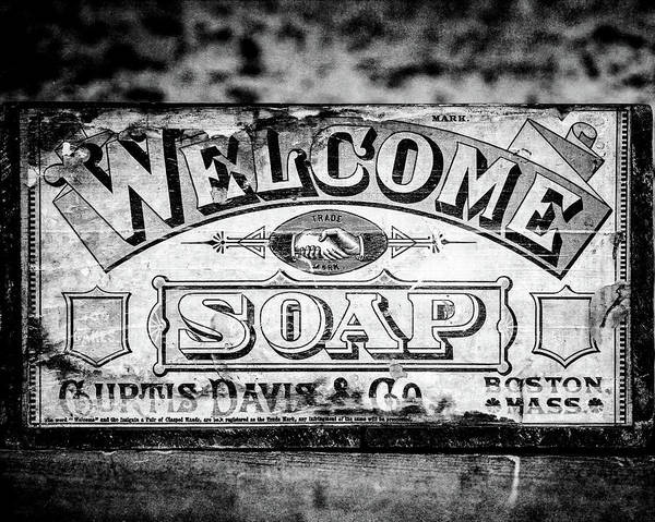 Wall Art - Photograph - Welcome Soap In Black And White by Lisa Russo