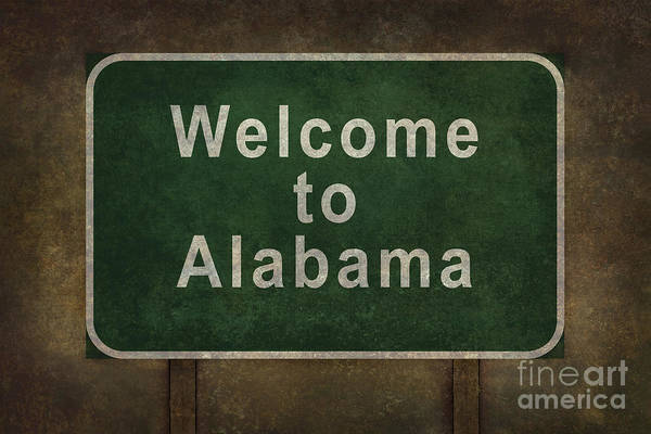 Welcome Sign Digital Art - Welcome To Alabama Roadside Sign Illustration by Bruce Stanfield