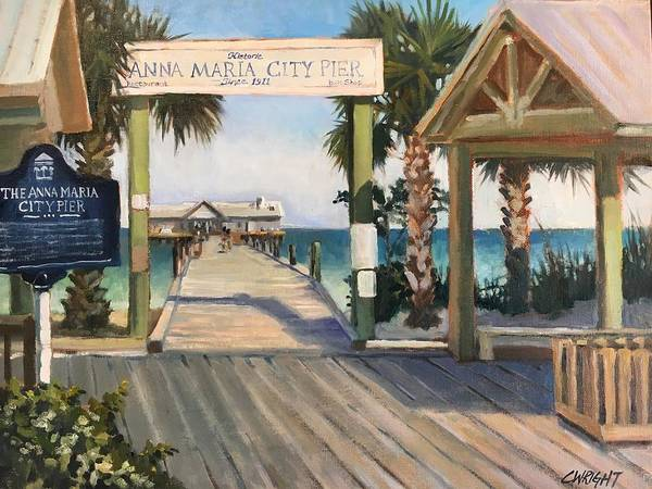 Maria Island Wall Art - Painting - Welcome To Anna Maria Island City Pier by Cory Wright