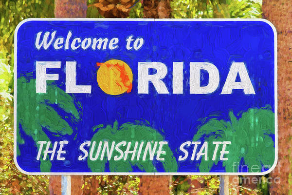Photograph - Welcome To Florida Sign by Les Palenik