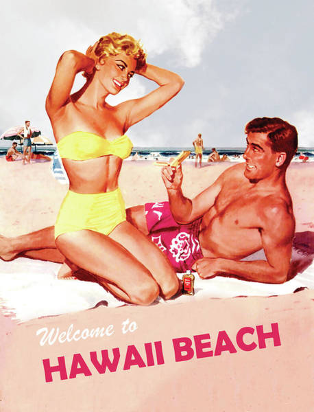 Honeymoon Painting - Welcome To Hawaii Beach, Happy Couple, Travel Poster by Long Shot