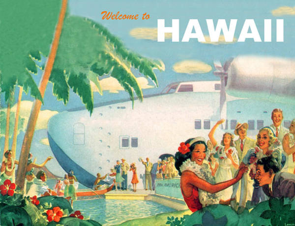 Hula Wall Art - Painting - Welcome To Hawaii, Vintage Airline Poster by Long Shot