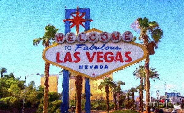 Las Vegas Nevada Painting - Welcome To Las Vegas by Mary Bassett