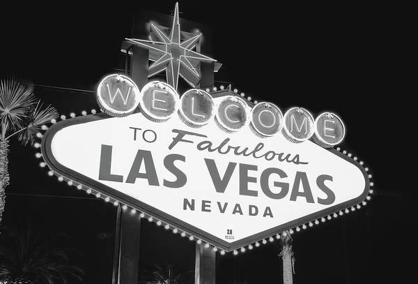 Photograph - Welcome To Las Vegas Neon Sign - Nevada Usa - Black And White by Gregory Ballos