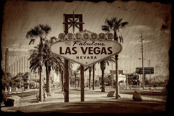 Wall Art - Photograph - Welcome To Las Vegas Series Sepia Grunge Part II by Ricky Barnard