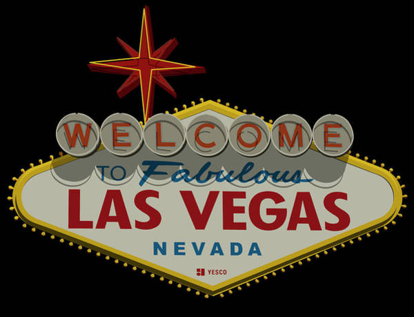 Welcome Sign Digital Art - Welcome To Las Vegas Sign Digital Drawing by Ricky Barnard